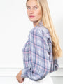 Womens Grey/Pink The Plaid Flannel Puffed Shoulder Shirt 2