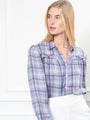 Womens Grey/Pink The Plaid Flannel Puffed Shoulder Shirt