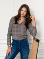 Womens Grey/Pink The Signature Shirt in Grey/Pink Glen Plaid