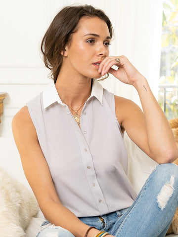 Womens Grey w/ Cream Collar The Signature Sleeveless Shirt