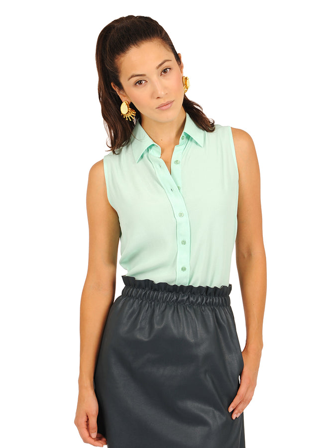 Womens Ice Green The Signature Sleeveless Shirt