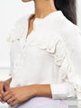 Womens Ivory The Washed Denim Shirt w/ Ruffle 2