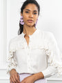 Womens Ivory The Washed Denim Shirt w/ Ruffle
