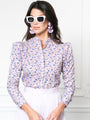 Womens Lavender Liberty The Puffed Shoulder Shirt in Lavender Liberty