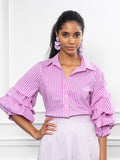 Womens Magenta Stripe The Seville Shirt 4