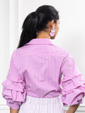 Womens Magenta Stripe The Seville Shirt 5