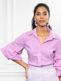 Womens Magenta Stripe The Seville Shirt 6