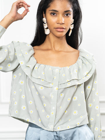 Womens Mint Daisy The Capri Shirt