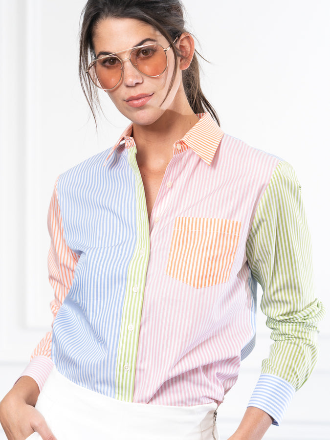 Womens Multi Stripe THE BOYFRIEND SHIRT IN MULTICOLOR STRIPE