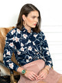 Womens Navy/Blush Floral The Icon Shirt in Navy/Blush Floral 2