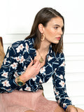Womens Navy/Blush Floral The Icon Shirt in Navy/Blush Floral 4