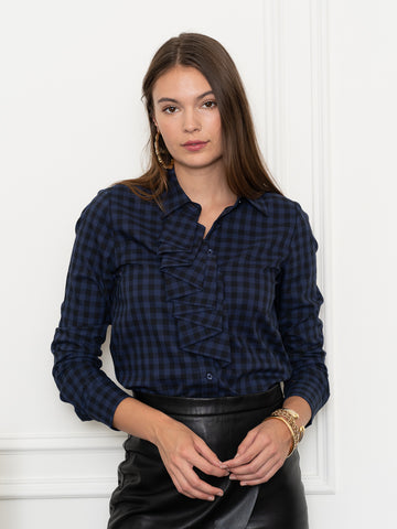 Womens Navy Check The Icon Shirt w/ Pleating