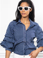 Womens Navy Check The Seville Shirt 2