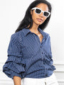 Womens Navy Check The Seville Shirt