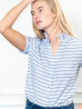 Womens Navy/Light Blue Stripe THE SHORT SLEEVE SHIRT WITH LOOSE BACK