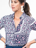Womens Navy/Pink Leopard THE SIGNATURE SHIRT in Navy/Pink Leopard 2