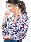 Womens Navy/Pink Leopard THE SIGNATURE SHIRT in Navy/Pink Leopard