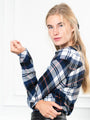 Womens Navy Plaid  The Flannel Shirt 2