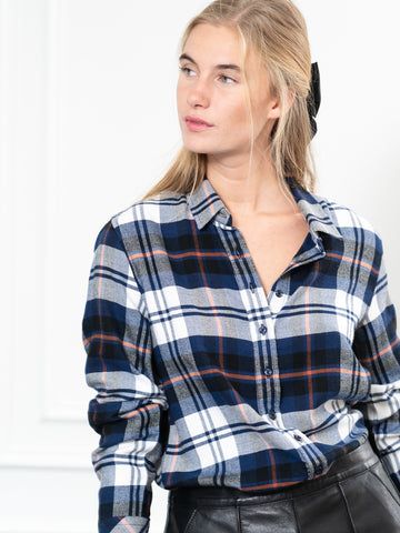 Womens Navy Plaid  The Flannel Shirt