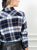 Womens Navy Plaid  The Flannel Shirt 4