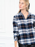 Womens Navy Plaid  The Flannel Shirt 6
