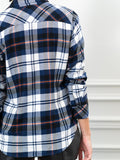 Womens Navy Plaid  The Flannel Shirt 7
