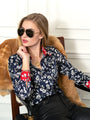 Womens Navy/Red Collar The Signature Shirt in Floral
