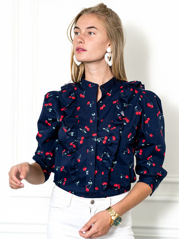 Womens Navy/Red The Cherry Print Ruffled Shirt