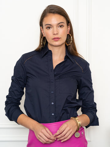 Womens Navy The Icon Shirt in Navy w/ Shoulder Seams