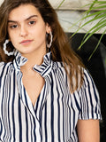 Womens Navy and White Stripe The Short Sleeve Shirt with Loose Back