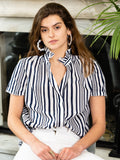 Womens Navy and White Stripe The Short Sleeve Shirt with Loose Back 2