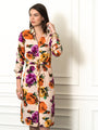 Womens Nude Floral The Signature Shirt Dress w/ Tie 2