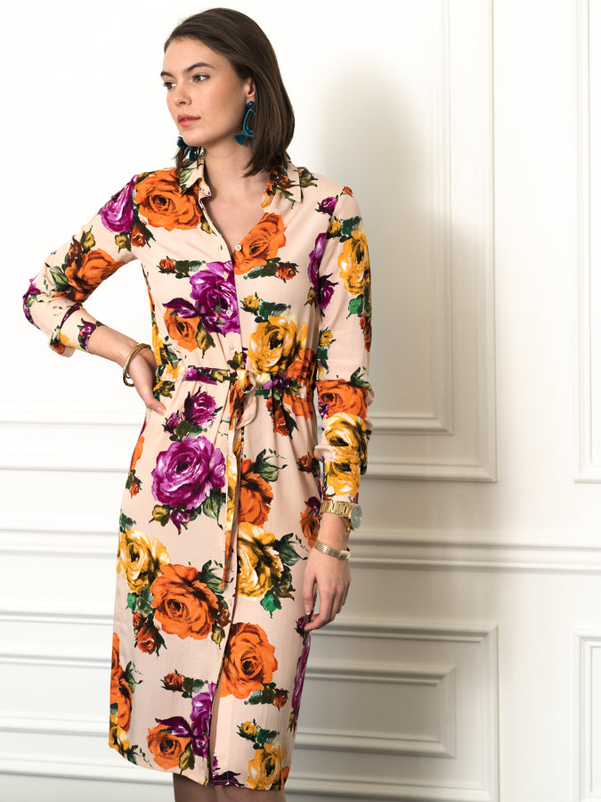 Womens Nude Floral The Signature Shirt Dress w/ Tie