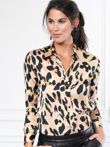 Womens Nude Multi Leopard The Signature Shirt in Nude Multi Leopard