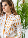 Womens Ochre/White The Ruffled Shirt 7