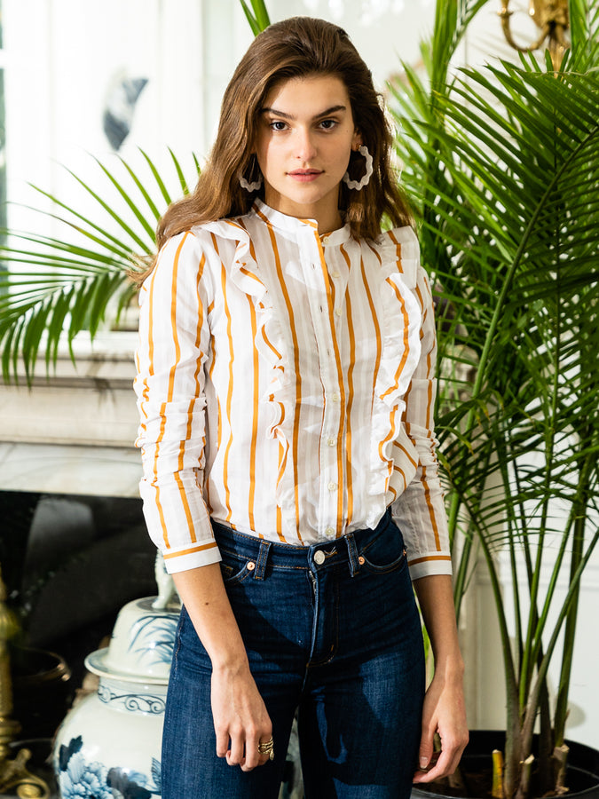 Womens Ochre/White The Ruffled Shirt