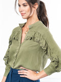 Womens Olive The Washed Denim Shirt w/ Ruffle