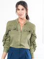 Womens Olive The Washed Denim Shirt w/ Ruffle 2