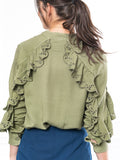 Womens Olive The Washed Denim Shirt w/ Ruffle 4