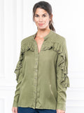 Womens Olive The Washed Denim Shirt w/ Ruffle 6