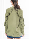 Womens Olive The Washed Denim Shirt w/ Ruffle 7