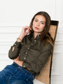 Womens Olive The Essentials Icon Shirt 2