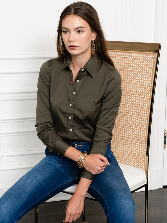 Womens Olive The Essentials Icon Shirt