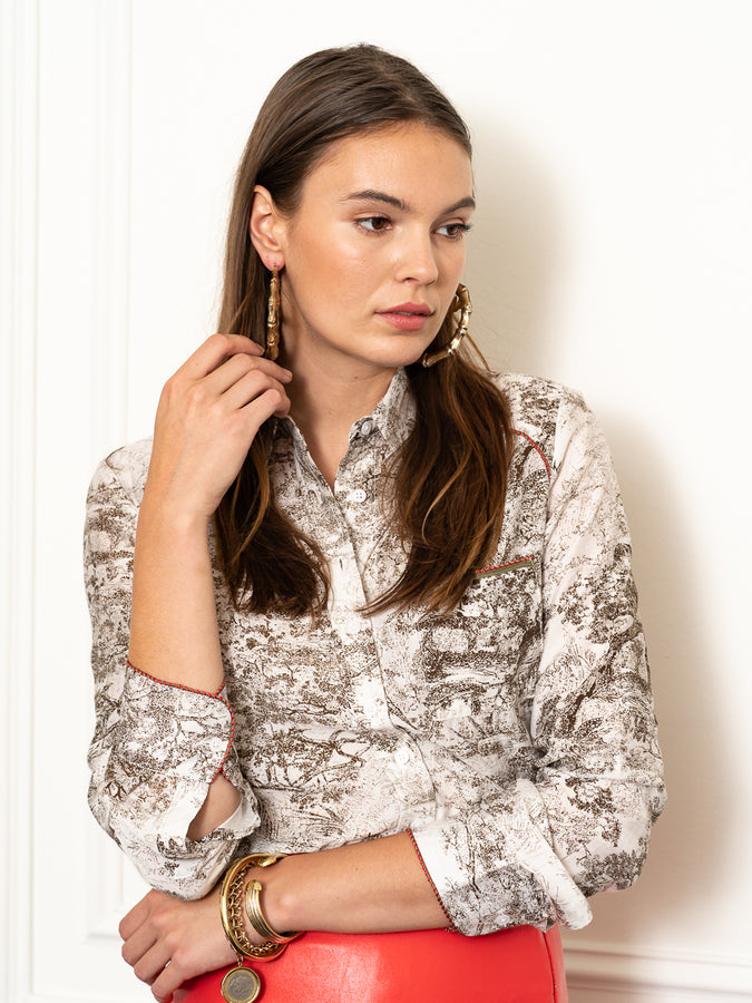 Womens Olive The Signature Shirt in Toile