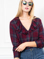 Womens Oxblood Navy Plaid The Amalia Shirt 2