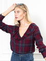 Womens Oxblood Navy Plaid The Amalia Shirt