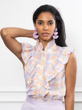 Womens Pastel Check The Sleeveless Ruffled Shirt 2
