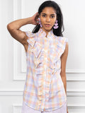 Womens Pastel Check The Sleeveless Ruffled Shirt 6