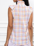 Womens Pastel Check The Sleeveless Ruffled Shirt 7