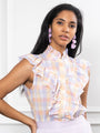 Womens Pastel Check The Sleeveless Ruffled Shirt